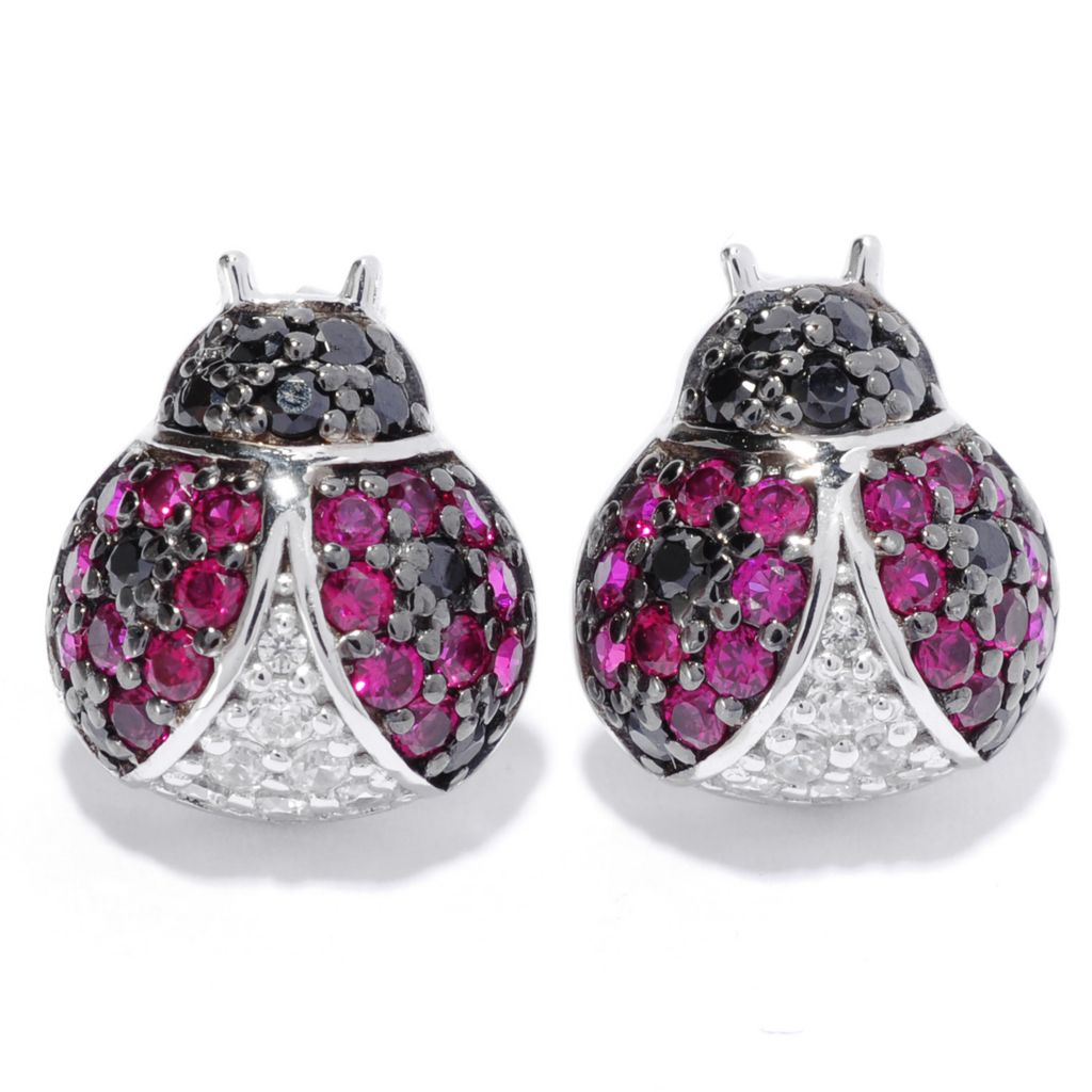135-827 - Neda Behnam Platinum Embraced™ Simulated Gemstone Lady Bug Stud Earrings