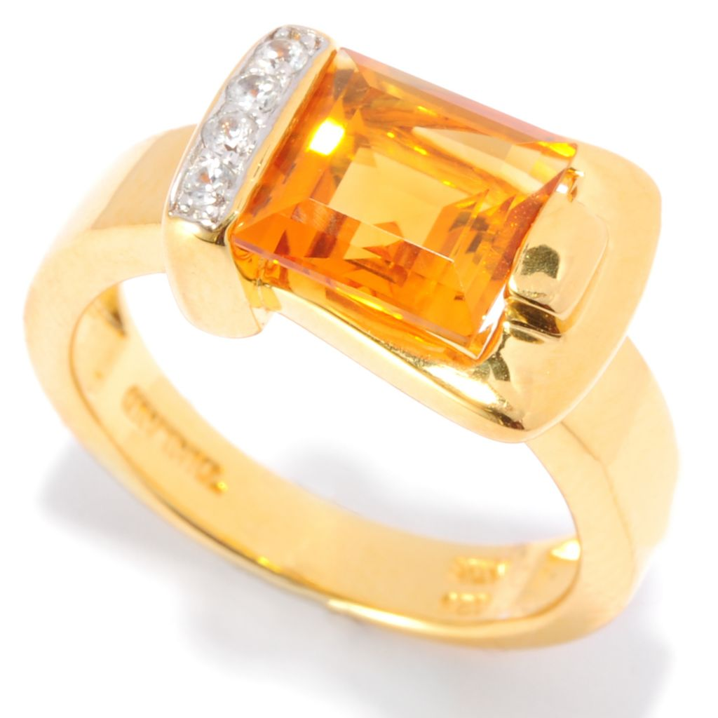 135-829 - NYC II Square Gemstone & White Zircon Buckle Ring