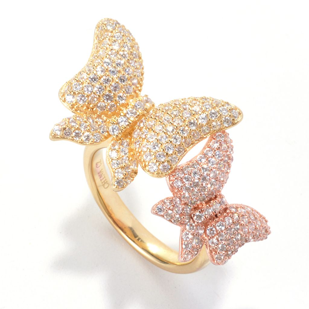 135-834 - Neda Behnam 2.03 DEW Simulated Diamond Double Butterfly Two-tone Ring
