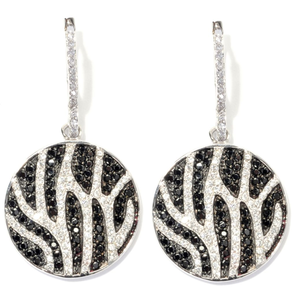 "135-835 - Neda Behnam 1.75"" 3.66 DEW Simulated Diamond Zebra Print Disk Drop Earrings"