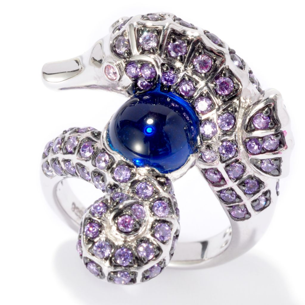 135-838 - Neda Behnam Platinum Embraced™ Multi Color Simulated Gemstone Seahorse Ring