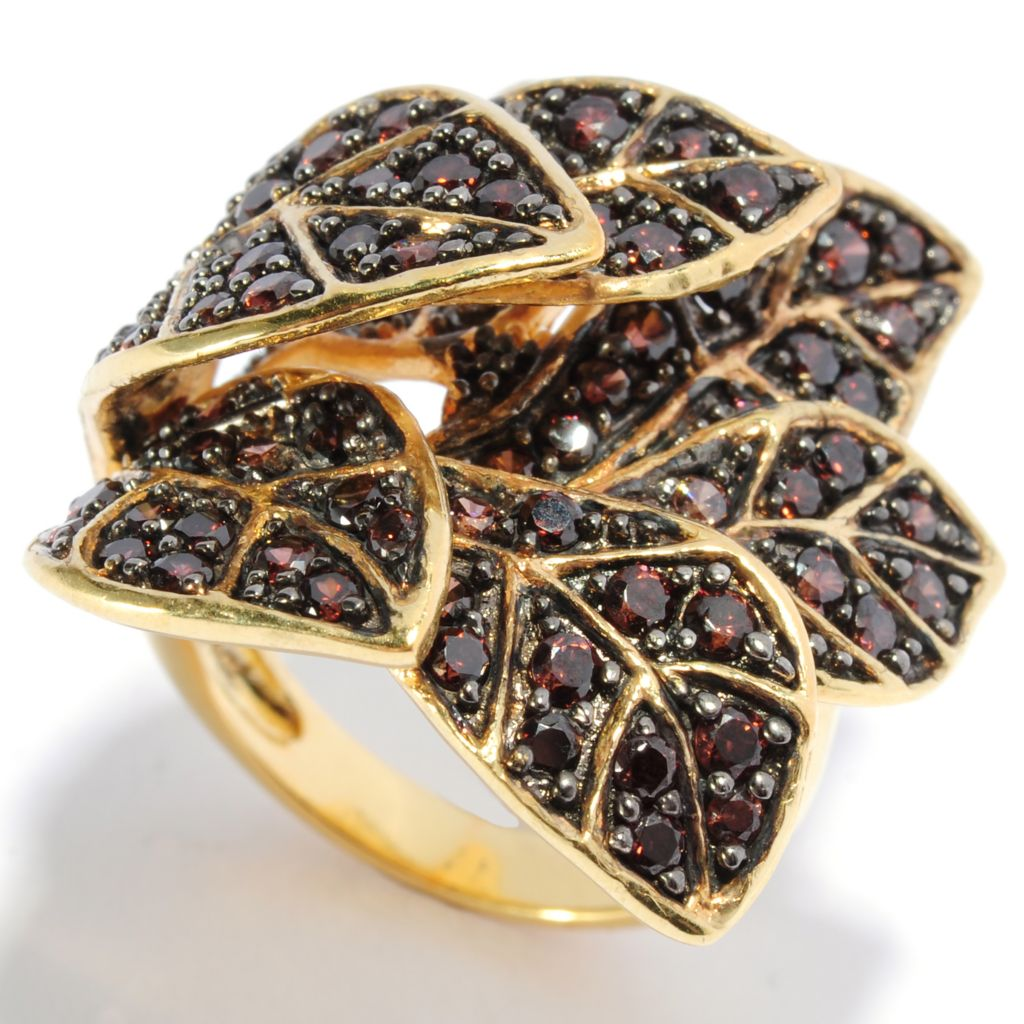 135-839 - Neda Behnam Simulated Gemstone Overlapping Leaf Ring