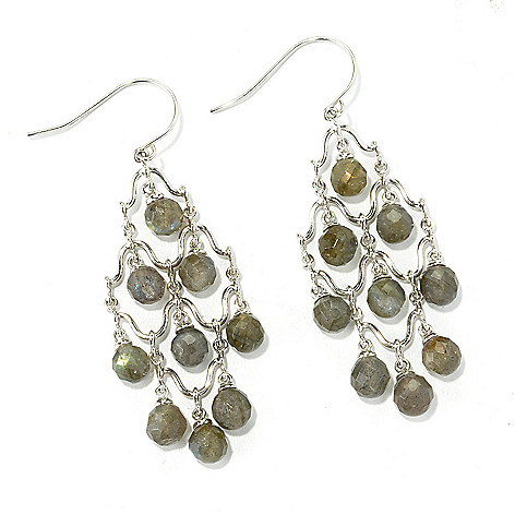 135-840 - Gem Insider Sterling Silver 2.25'' Labradorite Chandelier Earrings