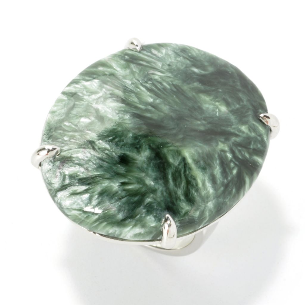 135-841 - Gem Insider Sterling Silver 31 x 26mm Oval Seraphinite Flat Top Ring
