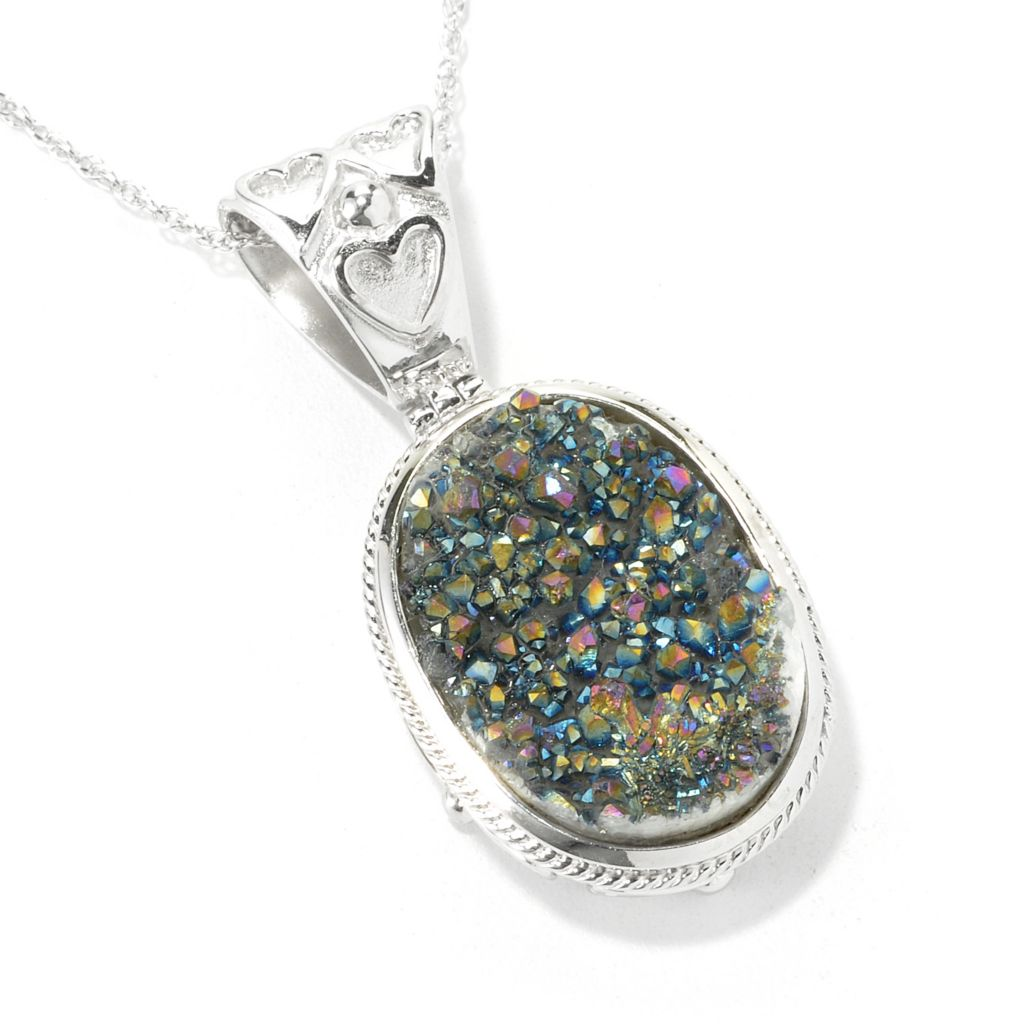 135-842 - Gem Insider Sterling Silver 20 x 15mm Oval Drusy Textured Pendant w/ Chain