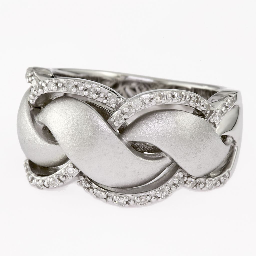 135-858 - Effy Sterling Silver 0.16ctw Diamond Wave Ring