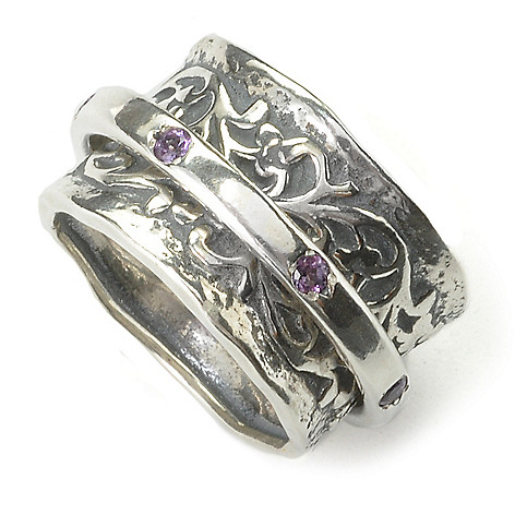 135-863 - Passage to Israel™ Sterling Silver Gemstone Spinner Ring