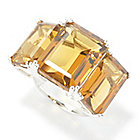 135-867 - Gem Insider Sterling Silver 17.00ctw Emerald Cut Gem Three-Stone Ring