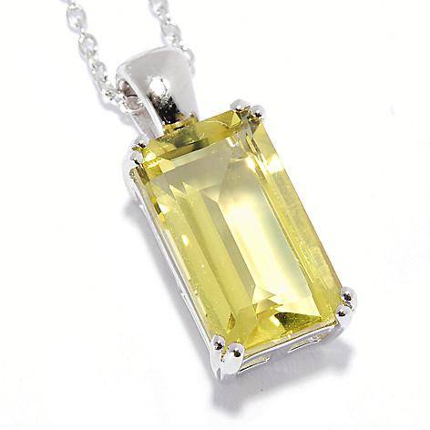 135-868 - Gem Insider Sterling Silver 4.00ctw Gemstone Solitaire Pendant w/ Chain