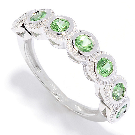 135-869 - Gem Treasures® Sterling Silver Gemstone Seven-Stone Cut-out Ring