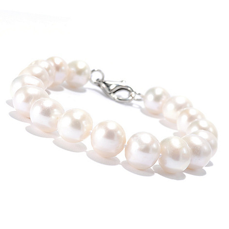 135-873 - Sterling Silver 10.5-11mm White Freshwater Cultured Pearl Bracelet