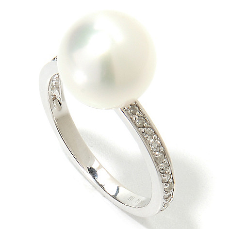135-874 - 14K White Gold 10-11mm Cultured Pearl & Diamond Ring
