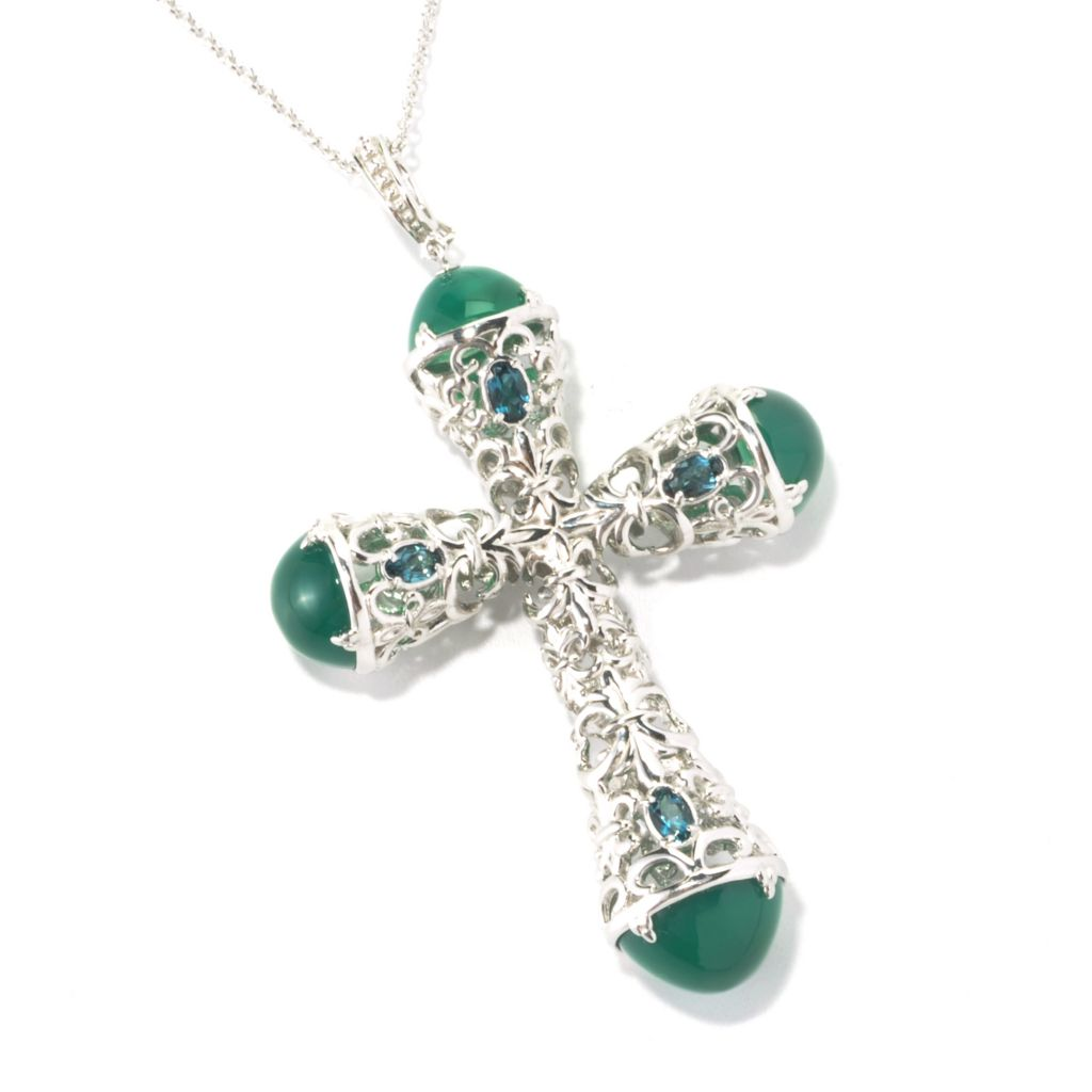 "135-878 - Dallas Prince Designs Sterling Silver Multi Gemstone Cross Pendant w/ 20"" Chain"