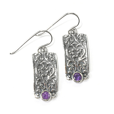 135-894 - Passage to Israel Sterling Silver 1.25'' Gemstone Swirl Rectangle Drop Earrings