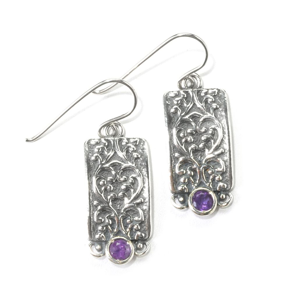 "135-894 - Passage to Israel Sterling Silver 1.25"" Gemstone Swirl Rectangle Drop Earrings"