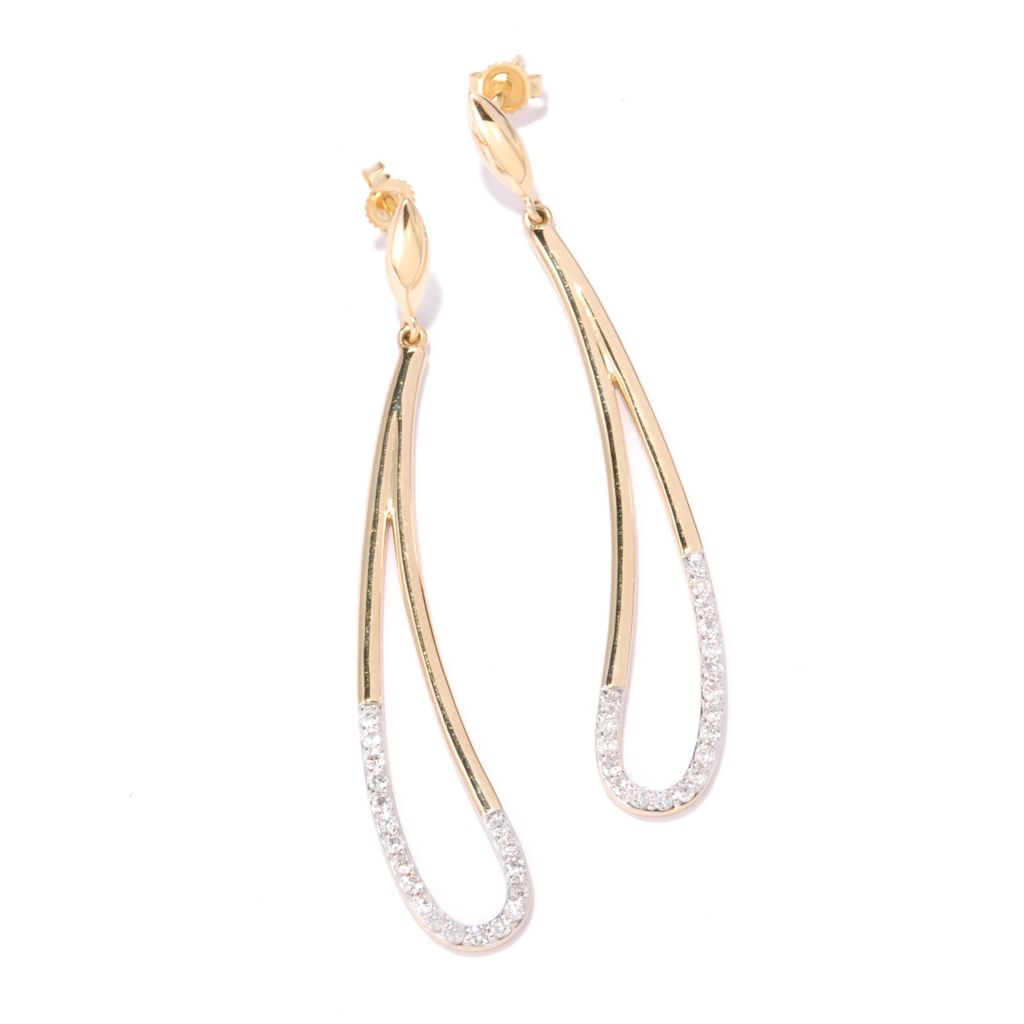 "135-896 - Beverly Hills Elegance 14K Gold 2.5"" 0.68ctw Diamond Elongated Teardrop Earrings"
