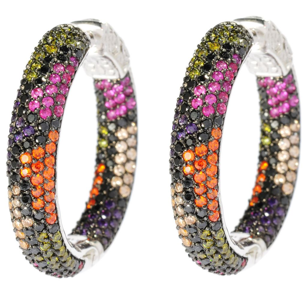 "135-906 - Neda Behnam 1.25"" Sterling Silver Simulated Gemstone Reptile Print Hoop Earrings"