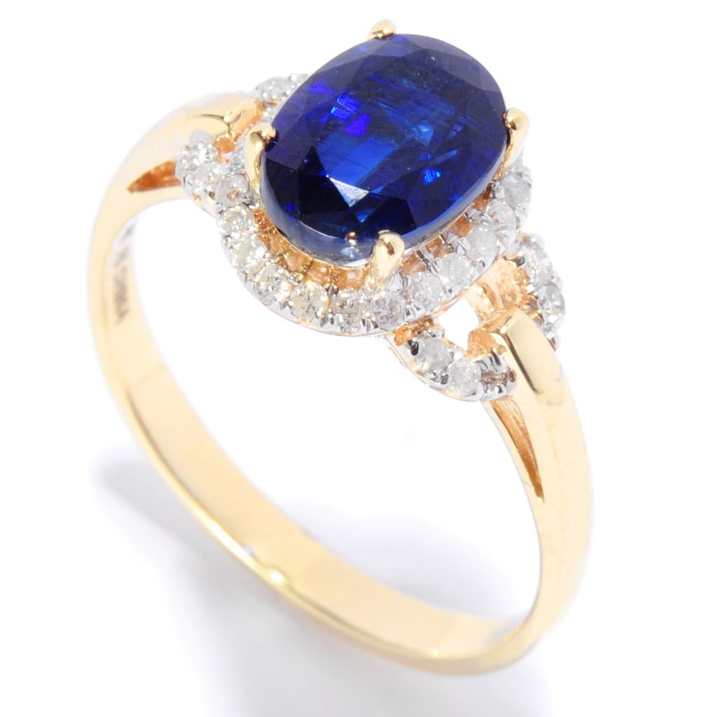 135-931 - Gem Treasures 14K Gold 1.71ctw Oval Kyanite & Diamond Halo Ring