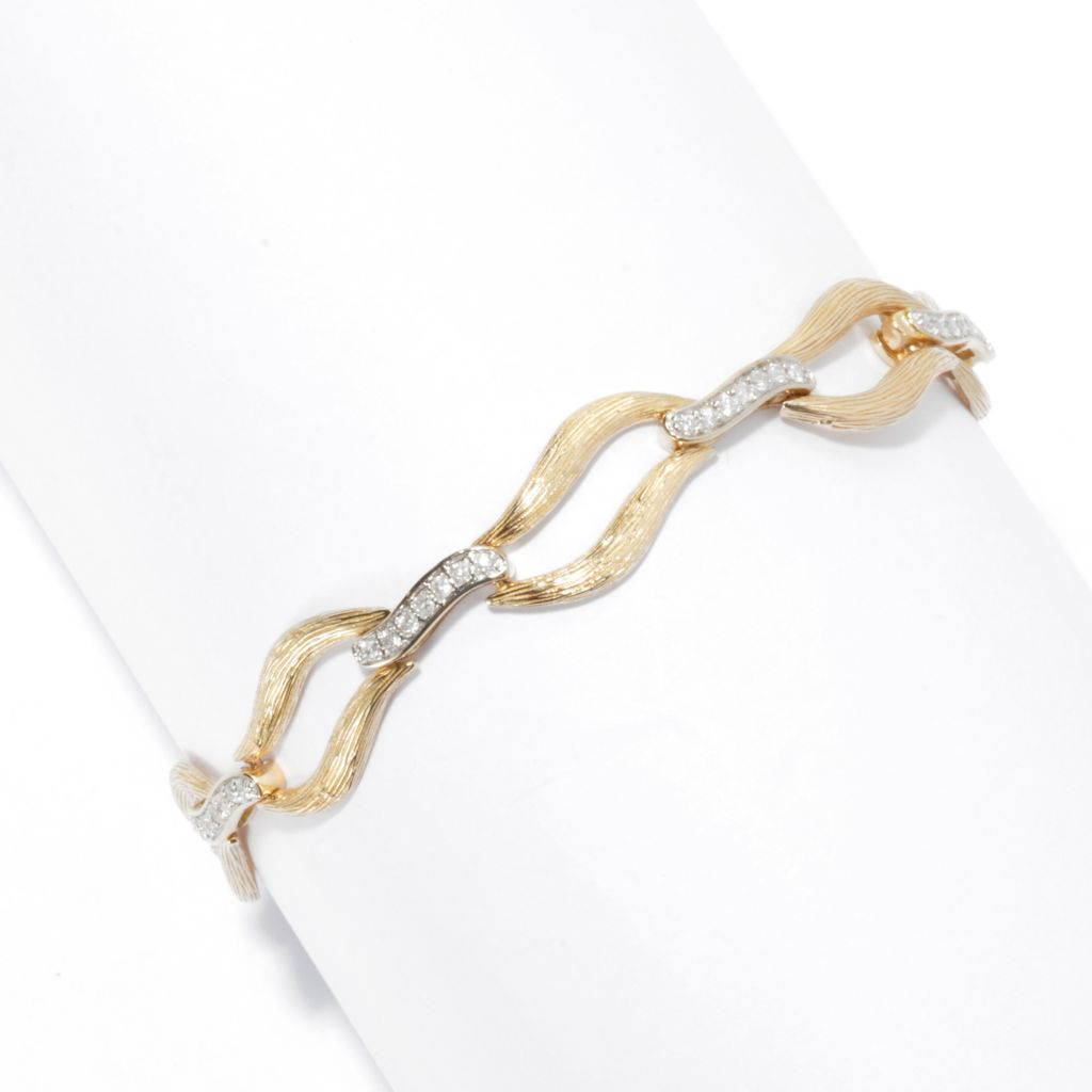 "135-932 - Beverly Hills Elegance 14K Gold 8.25"" 0.80ctw Diamond Textured Station Bracelet"