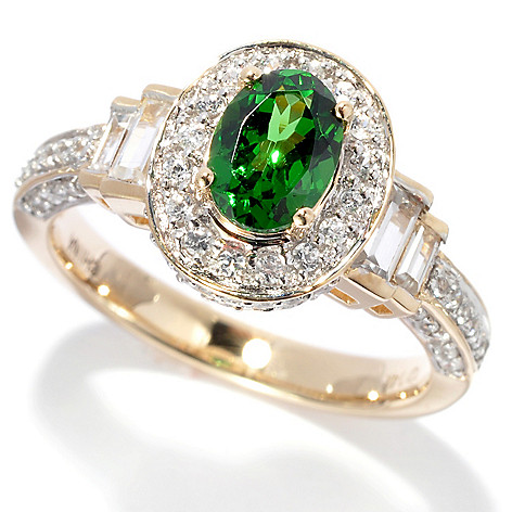 135-934 - Gem Treasures 14K Gold 1.93ctw Tsavorite & White Zircon Halo Ring