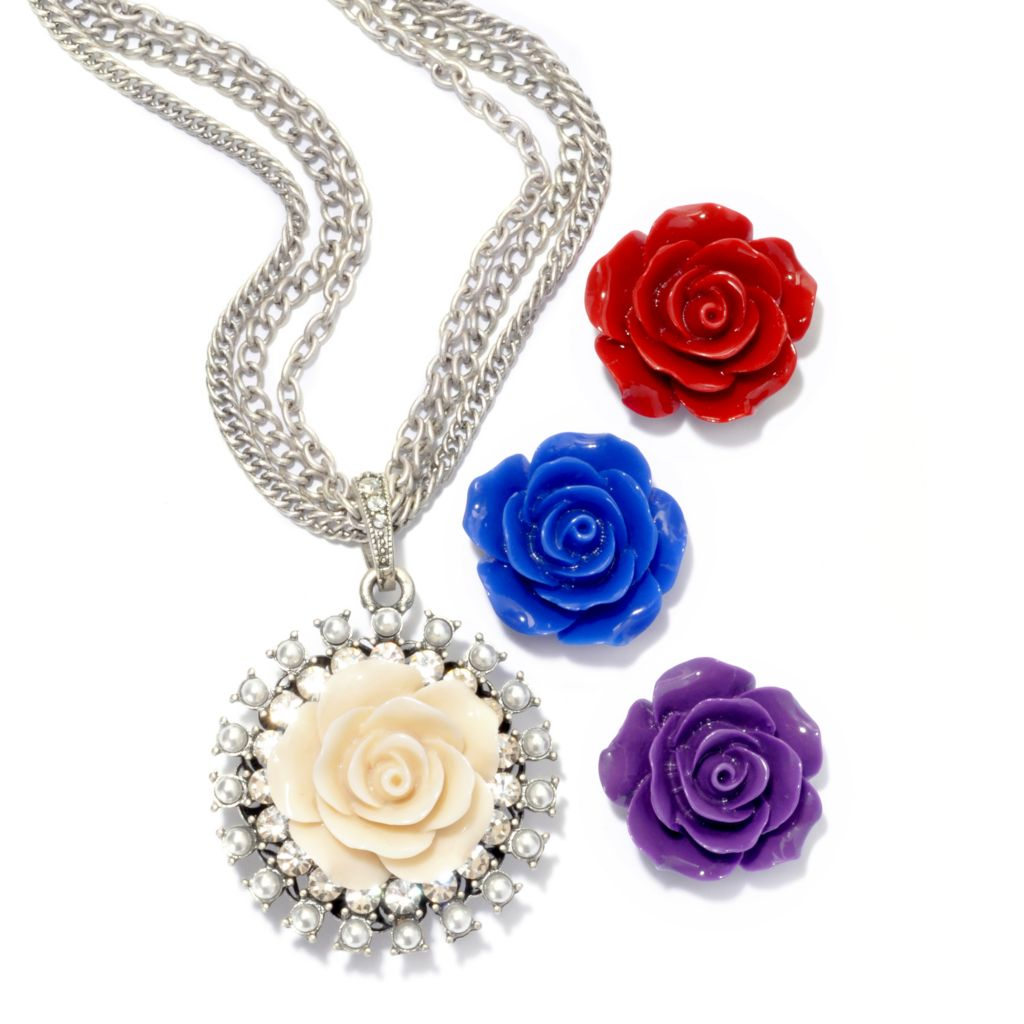 "135-935 - Sweet Romance™ 24.5"" Triple Strand Necklace w/ Interchangeable Carved Roses"