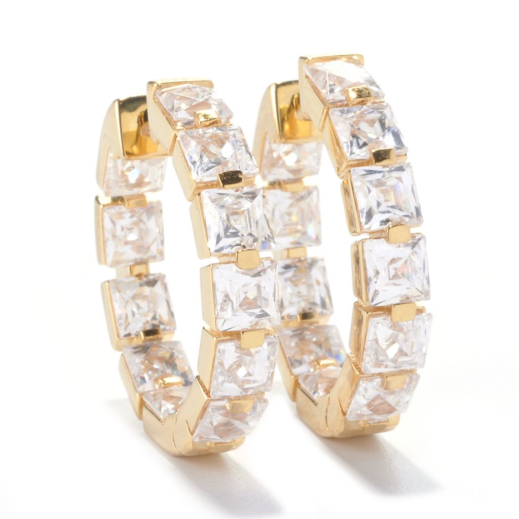 135-945 - TYCOON 8.62 DEW TYCOON CUT Simulated Diamond Inside-Out Hoop Earrings