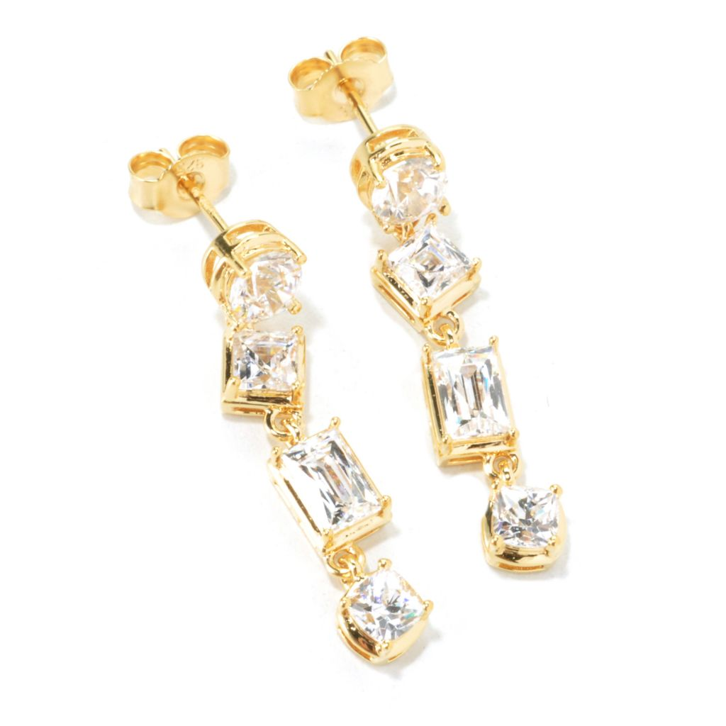 "135-946 - TYCOON 1.25"" 3.24 DEW Multi Shape Simulated Diamond Dangle Earrings"