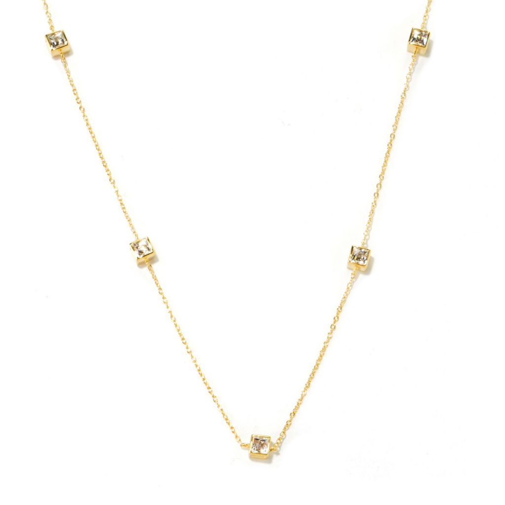 "135-952 - TYCOON 24"" 3.92 DEW Simulated Diamond Kissing Stones Box Station Necklace"