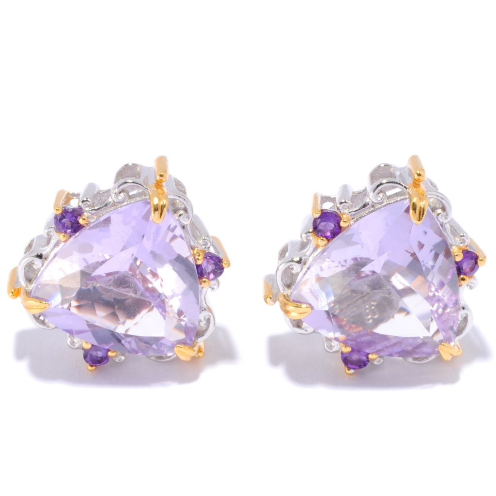 135-955 - Gems en Vogue II 7.78ctw Trillion Pink Amethyst & African Amethyst Stud Earrings