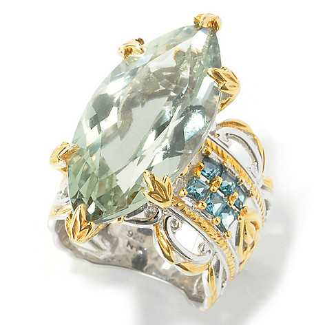 135-956 - Gems en Vogue II 10.82ctw Marquise Shaped Prasiolite & London Blue Topaz Ring