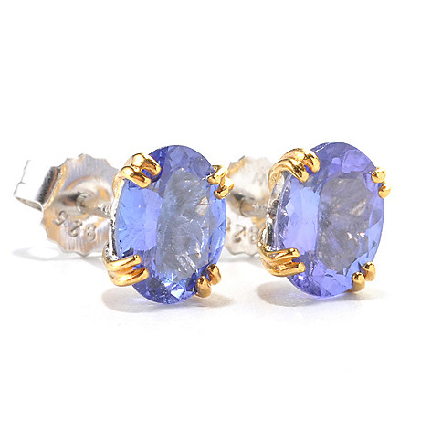 135-957 - Gems en Vogue II 2.00ctw Oval Tanzanite Stud Earrings