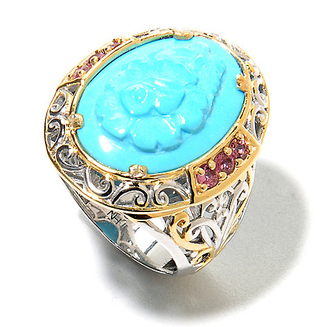 135-958 - Gems en Vogue II 18 x 13mm Carved Sleeping Beauty Turquoise Flower Cameo & Gem Ring