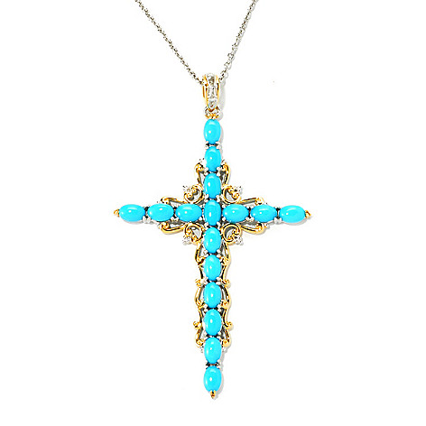135-959 - Gems en Vogue II Sleeping Beauty Turquoise Cross Pendant w/ 18'' Chain