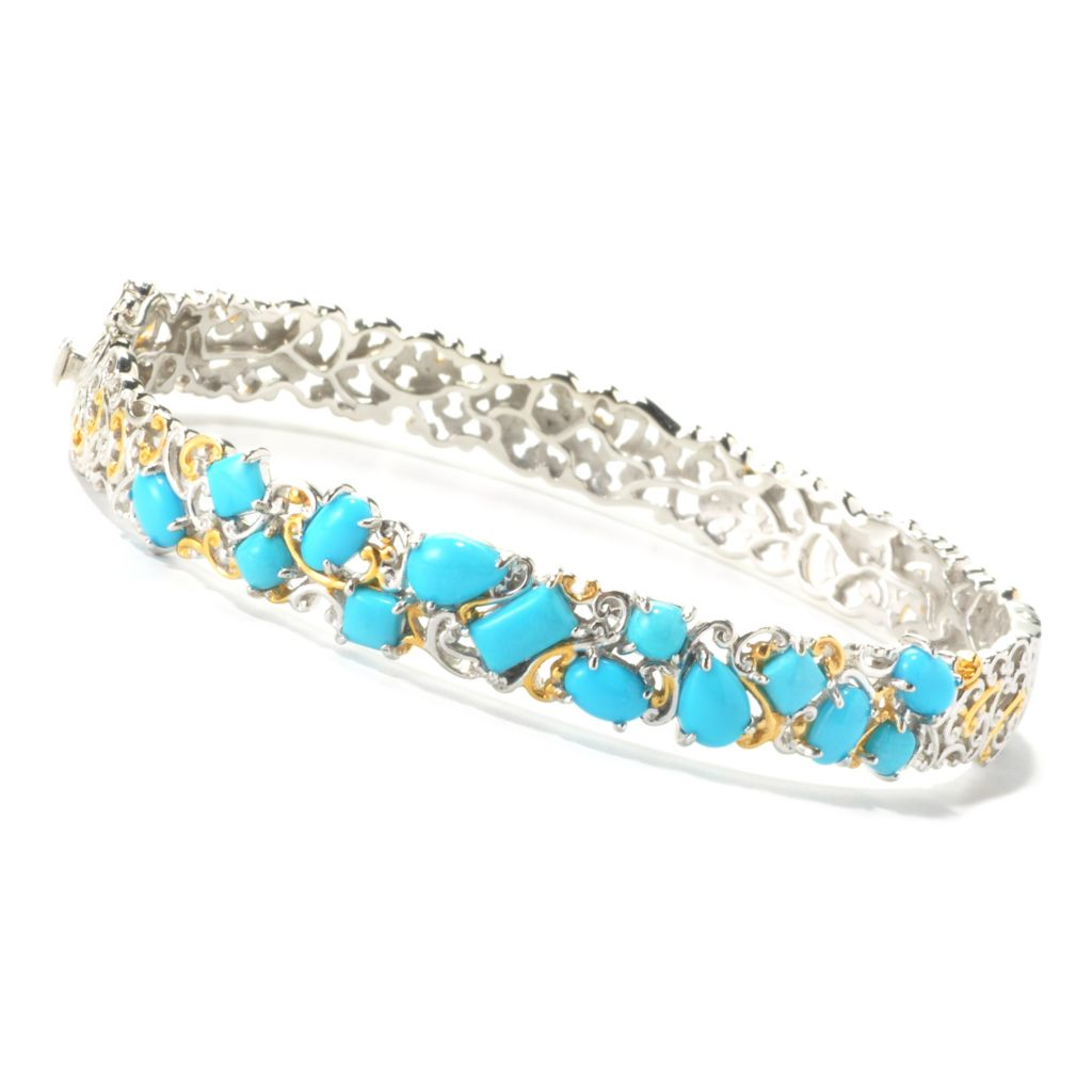 135-960 - Gems en Vogue II Multi Shape Sleeping Beauty Turquoise Hinged Bangle Bracelet
