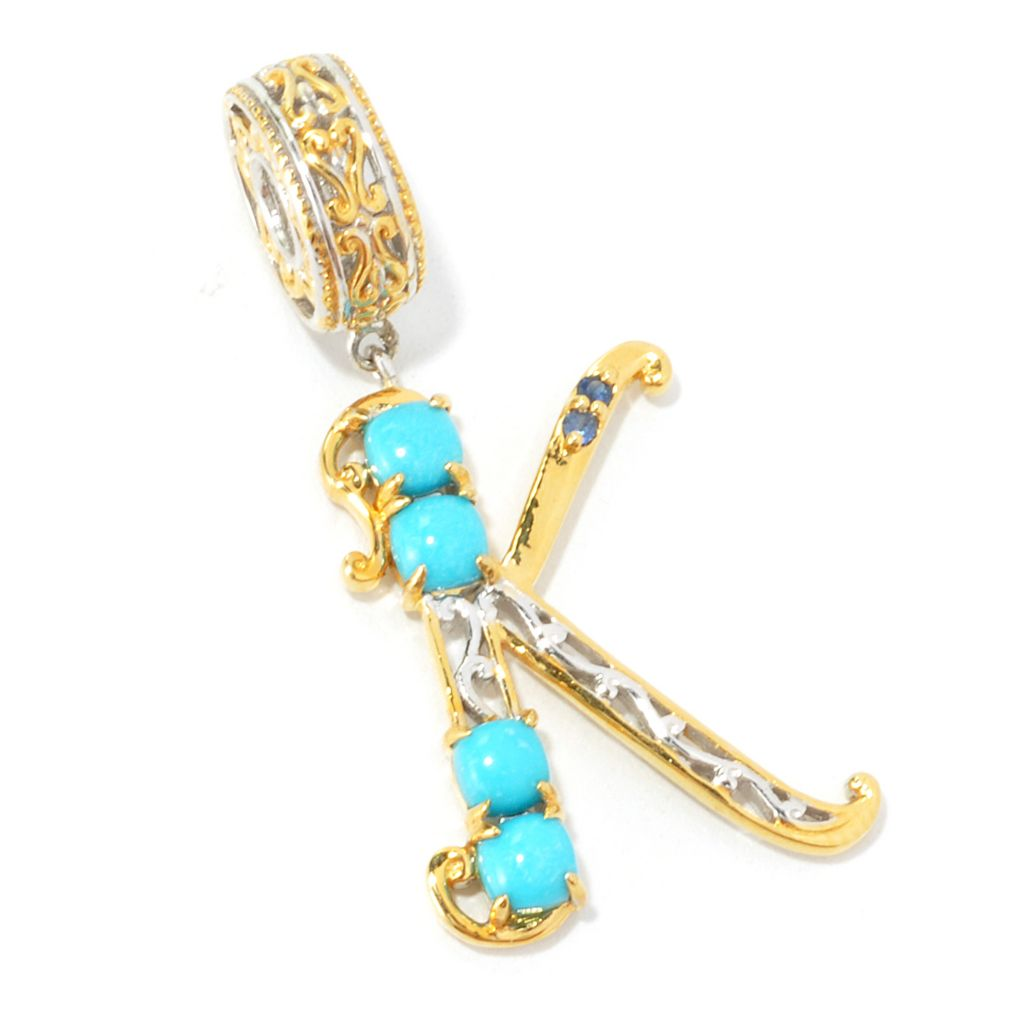 135-961 - Gems en Vogue II Sleeping Beauty Turquoise & Gemstone Initial Charm