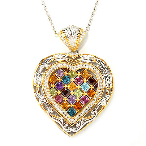 135-963 - Gems en Vogue II 3.15ctw Princess Cut Multi Gemstone Heart Pendant w/ 18'' Chain