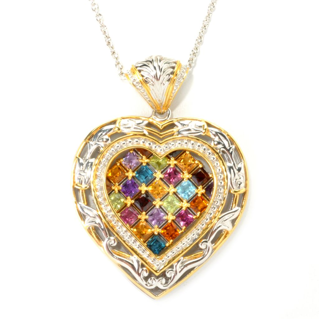 "135-963 - Gems en Vogue II 3.15ctw Princess Cut Multi Gemstone Heart Pendant w/ 18"" Chain"
