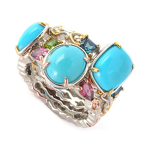 135-967 - Gems en Vogue Set of Three Sleeping Beauty Turquoise & Gem Stack Band Rings
