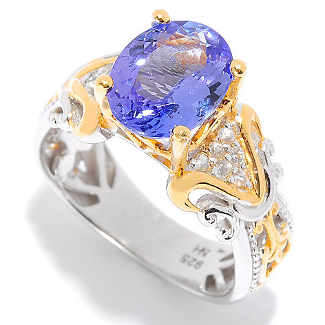 135-968 - Gems en Vogue 2.38ctw Oval Tanzanite & White Sapphire Ring