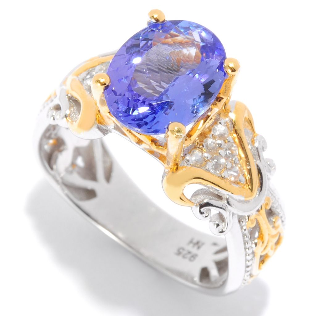 135-968 - Gems en Vogue 2.38ctw Oval Tanzanite & White Sapphire Ring