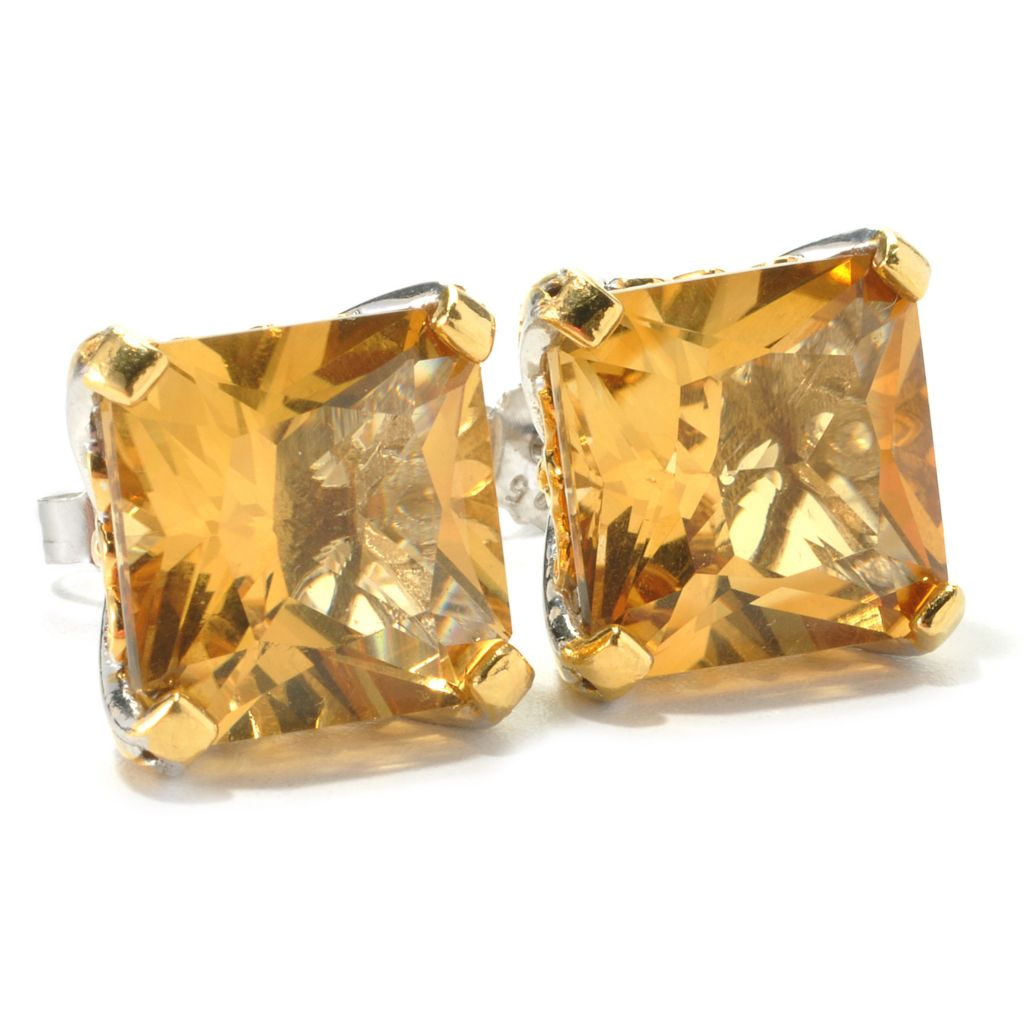 135-969 - Gems en Vogue II 15.20ctw Princess Cut Zambian Citrine Stud Earrings