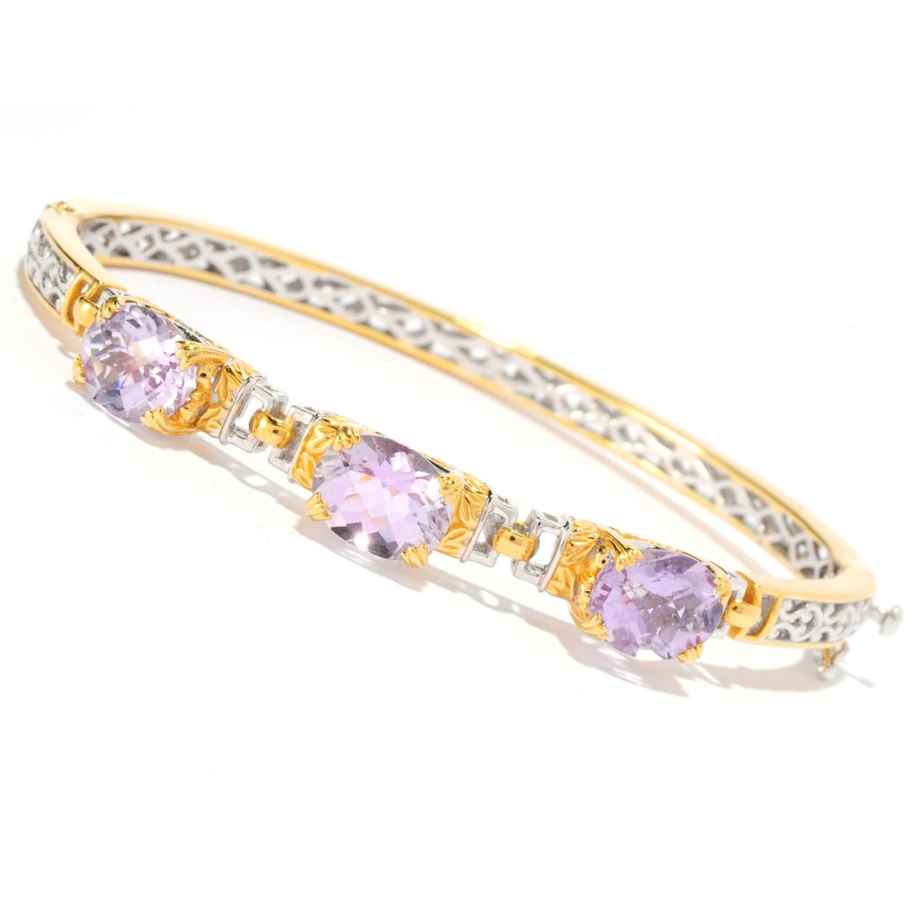 135-970 - Gems en Vogue II 6.66ctw Oval Pink Amethyst Three-Stone Hinged Bangle Bracelet