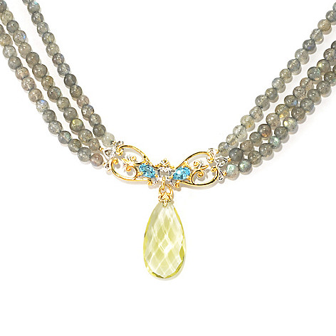 135-971 - Gems en Vogue II Ouro Verde, Swiss Blue Topaz & Labradorite Beaded Toggle Necklace