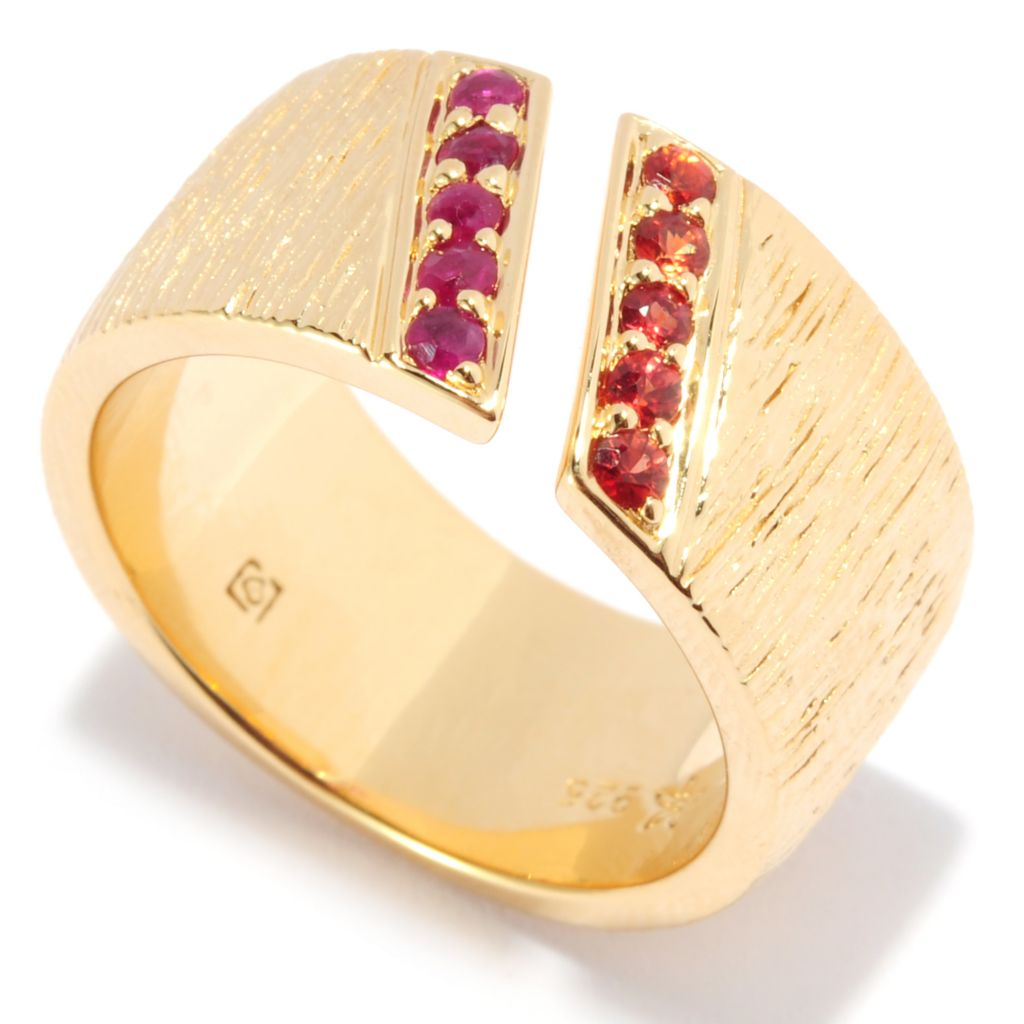 135-975 - Michelle Albala Gemstone & Sapphire Diagonal Split Band Ring