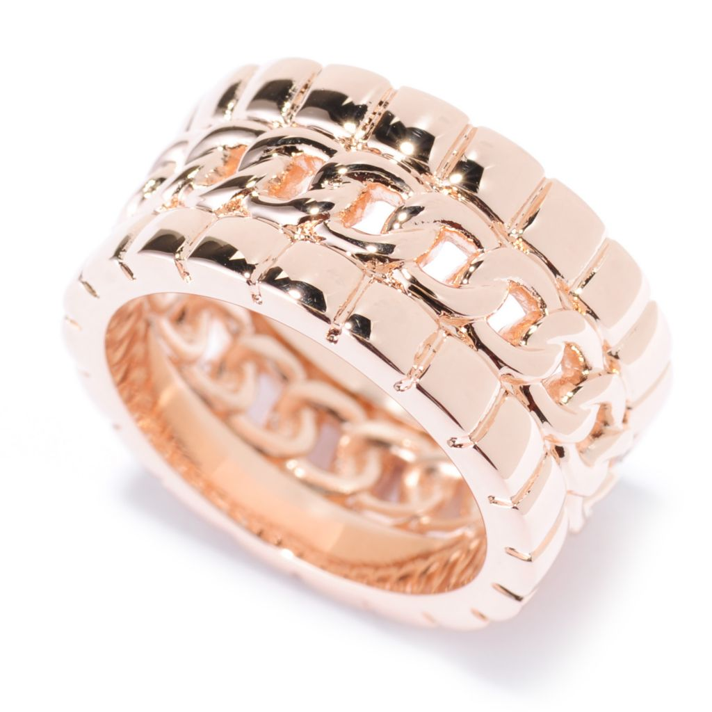 135-979 - Dettaglio 18K Gold Embraced™ Polished Curb Link Wide Band Ring