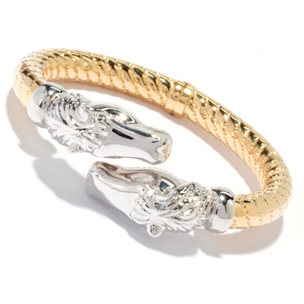 "135-988 - Dettaglio 18K Gold Embraced™ 6.5"" Polished Horse Head Hinged Bangle Bracelet"