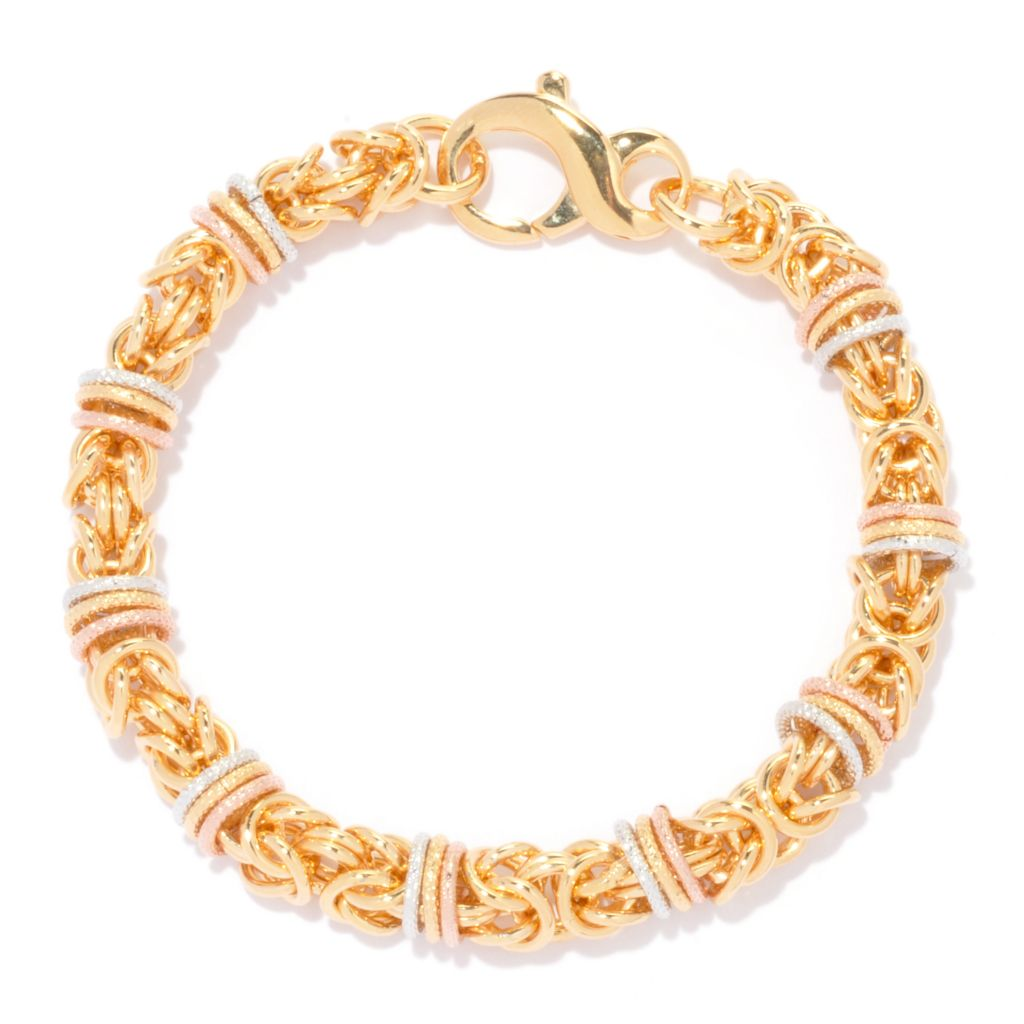 135-990 - Dettaglio 18K Gold Embraced™ Tri-Color Textured Byzantine Link Bracelet