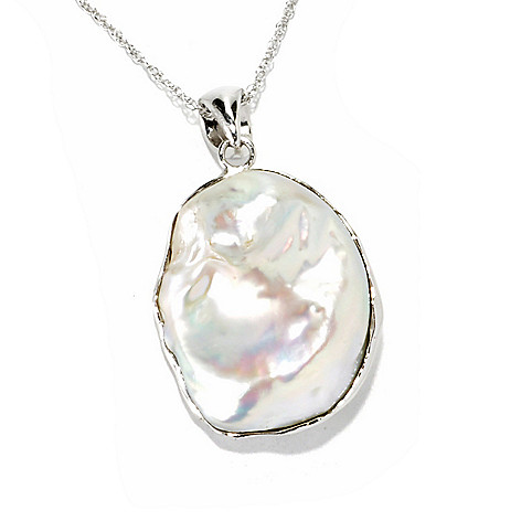 "135-991 - Sterling Silver 27 x 22mm Freeform Freshwater Cultured Pearl Pendant w/ 18"" Chain"
