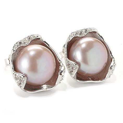 135-993 - Sterling Silver 12-13mm Pink Button Freshwater Cultured Pearl & Topaz Earrings
