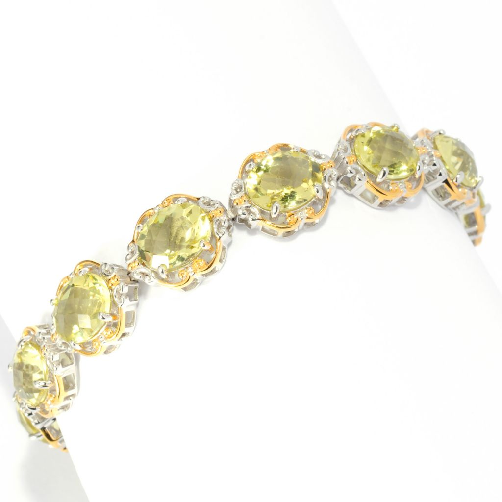 "136-017 - Gems en Vogue II 7.5"" 24.40ctw Checkerboard Cut Ouro Verde Toggle Bracelet"